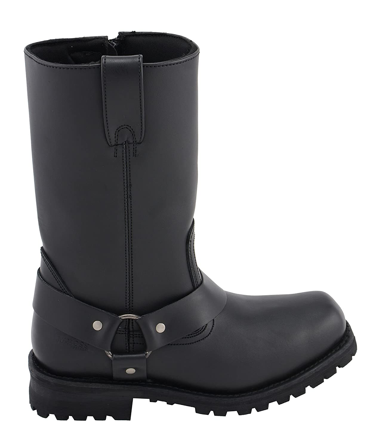 """M-BOSS APPAREL-Mens 12/"""" Classic Harness Leather Motorcycle Boots Black-9.5"""