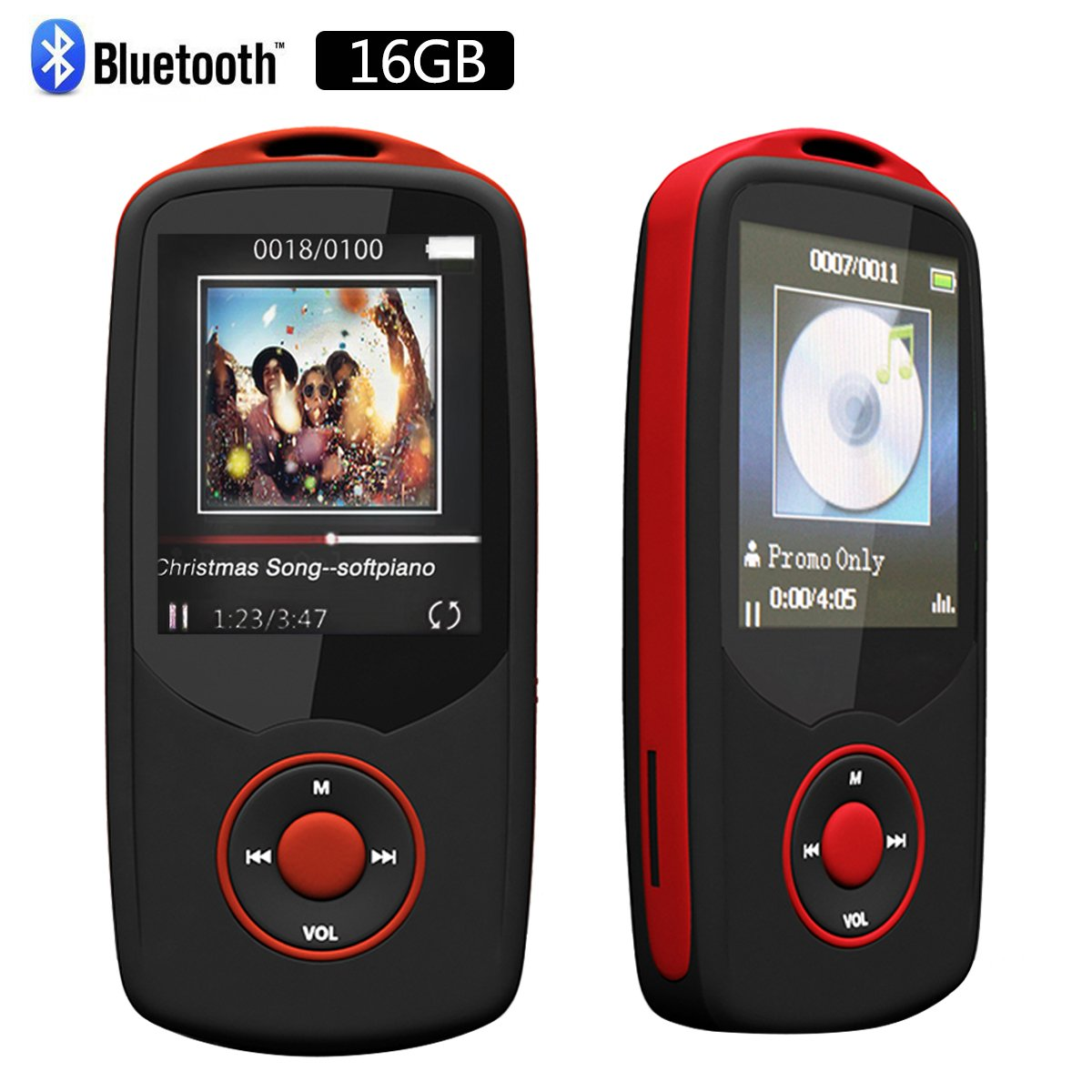 RUIZU Sport Bluetooth 16 GB MP3 Player Hifi Lossless Sound with FM Radio (Easy to operate) -Support up to 64GB Micro SD Card-Red by CFZC