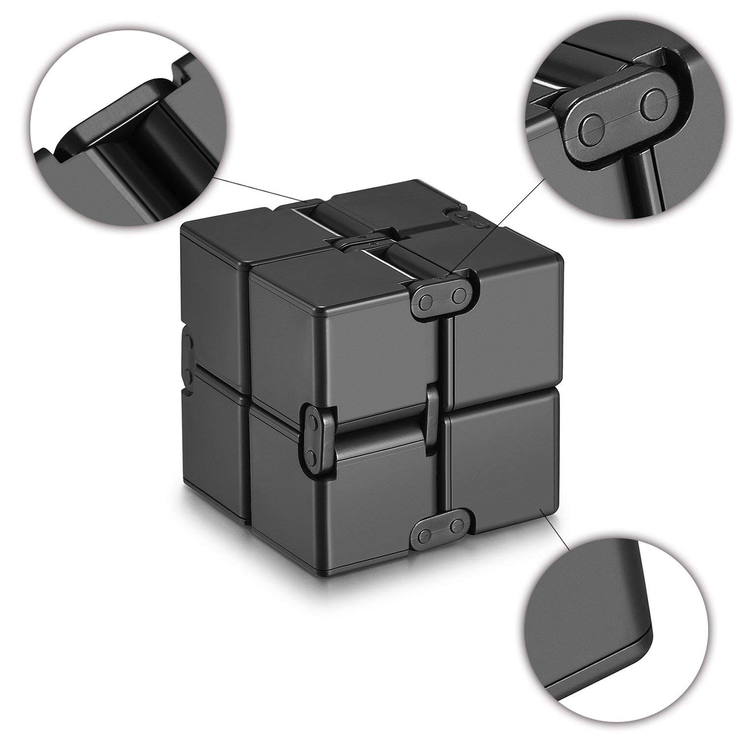 Ganowo Infinity Cube Fidget Toy for Kids and Adults, Fidget Cube Cool Mini Magic Cube Gadget Spinner for Stress and Anxiety Relief and Kill Time (Blue&Black)