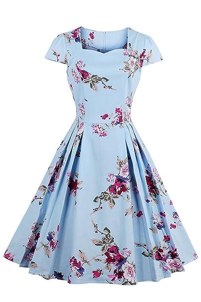 Babyonlinedres Vestido Azul de Fiesta Estilo Vintage Vestido de Mujer para Ceremonia graduación Cuello Cuadrado Manga