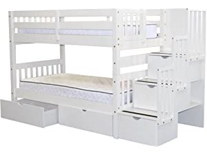Amazon Com Furniture Of America Sammy Twin Over Twin Bunk Bed With