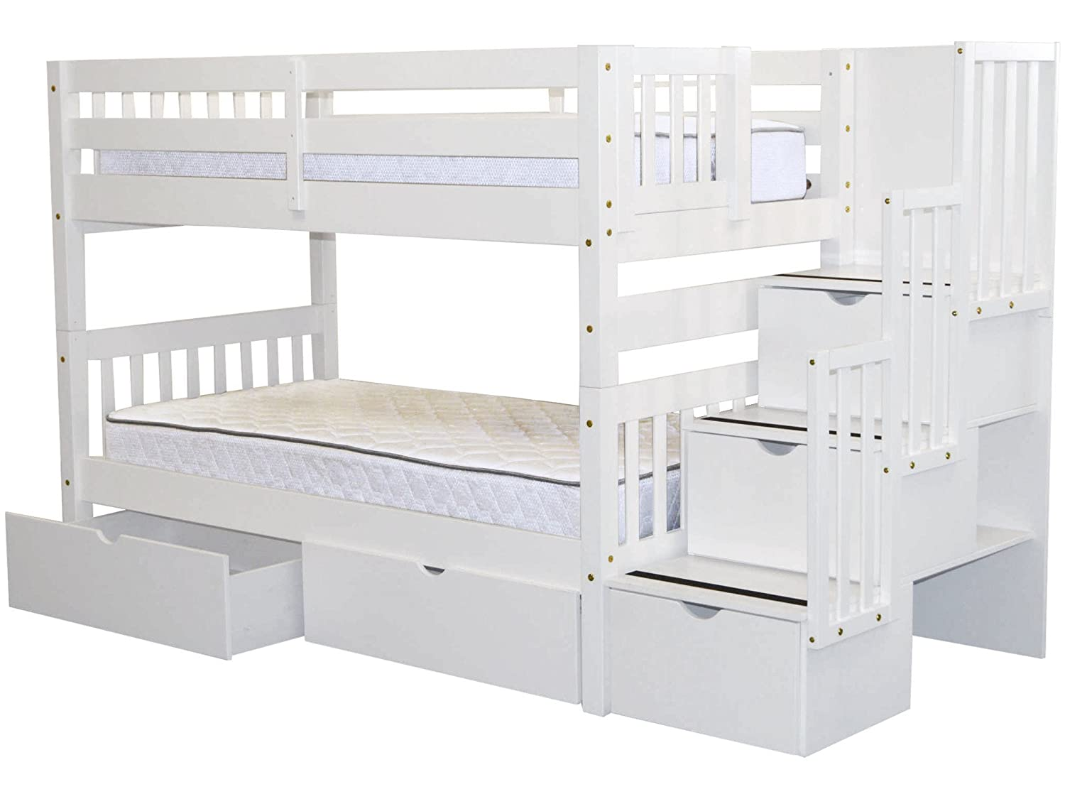 Stairway Bunk Beds Twin over Twin with 3 Drawers in the Steps and 2 Under Bed Drawers, White