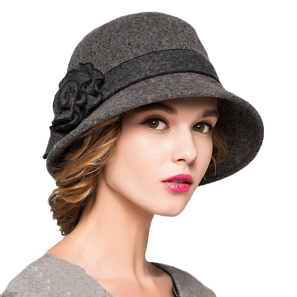 Maitose Trade; Women's Wool Felt Flowers Church Bowler Hats Dark Gray