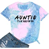 Women Auntie T-Shirt Aunt Vibes Shirt Funny Aunt Gifts Tee Shirt Casual Aunt Graphic Short Sleeve Tops