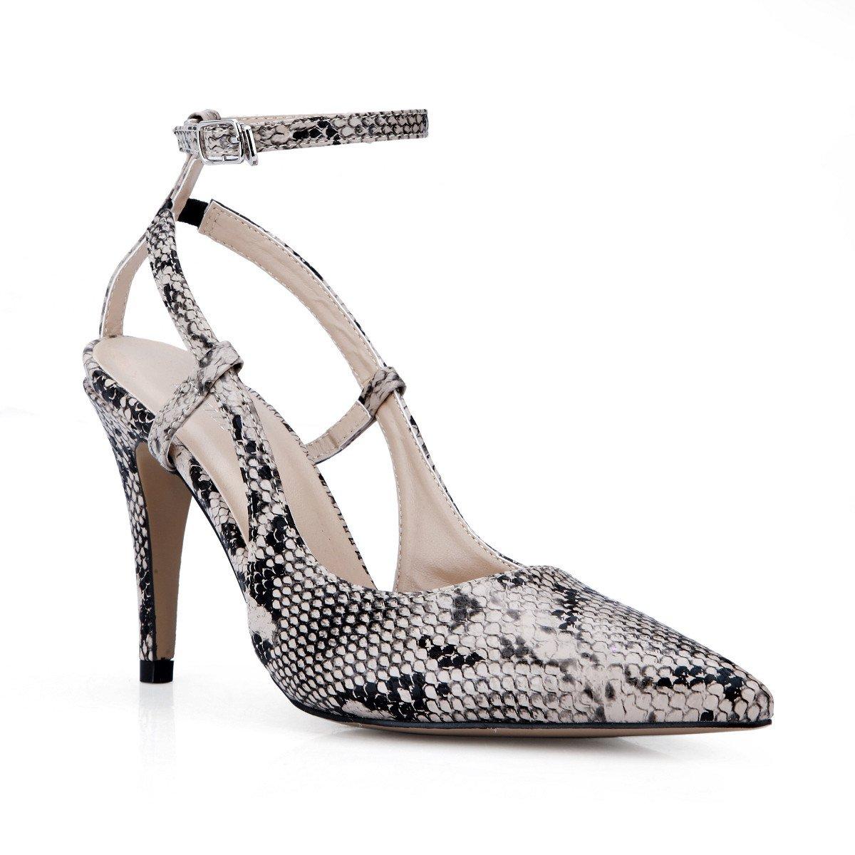 Noir and blanc Les femmes célibataires nouveau dîner annuel de la haute-talon de la peau de serpent gris Grande Punto chaussures femmes US9   EU40   UK7   CN41