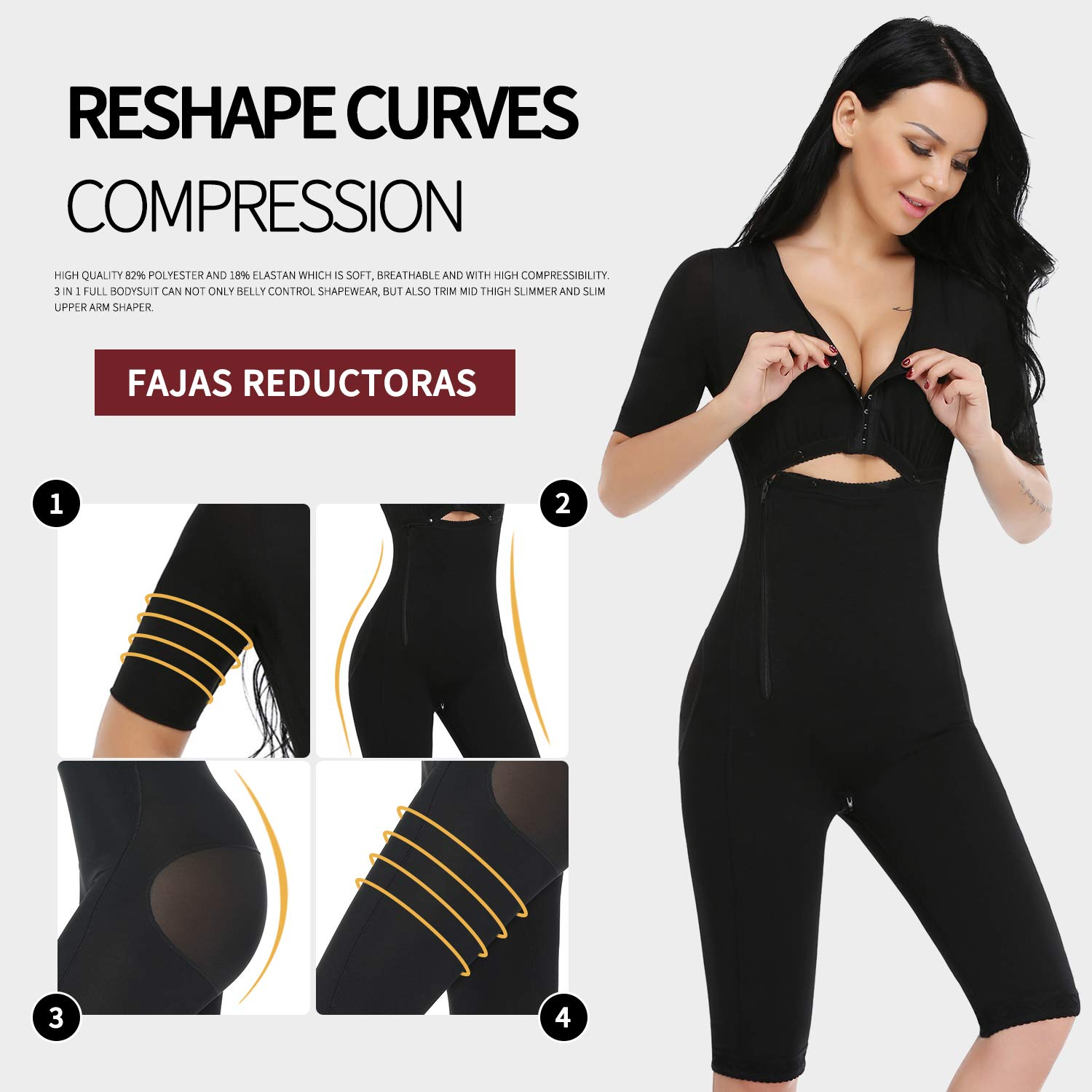 5e8eb8d91e9c6 MISS MOLY Bodysuit Body Shaper Post Surgery Seamless Fajas Compression  Garment Full Shapewear Black at Amazon Women s Clothing store
