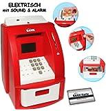 """elektrische Spardose - """" Geldautomat """" - rot - mit SOUND + PIN Geldkarte + Sparzähler + ALARM Funktion + Zählfunktion / stabile & digitale Sparbüchse / Sparschwein für Kinder & Erwachsene - Rechnerfunktion - zählt Münzen & Scheine - eingebauter Geldzähler"""
