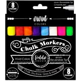 Loddie Doddie Liquid Chalk Markers | 8ct VIVID Neon Colors | Pack of 8 Dust Free Chalk Pens - Perfect for Chalkboards, Blackb