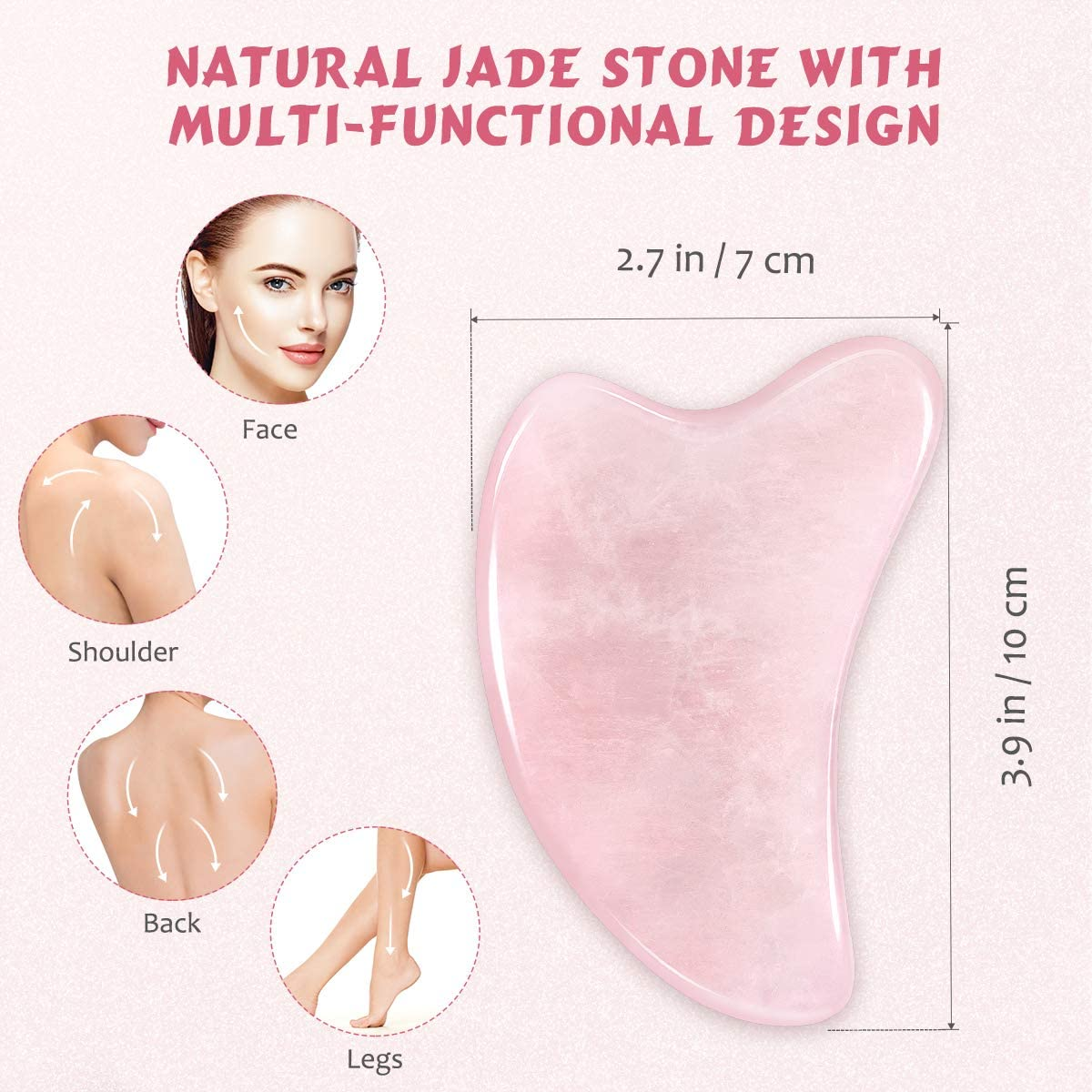 Gua Sha Tool, Natural Gua Sha Jade Stone Guasha Board Scraping Massage Tools for SPA Acupuncture Therapy Treatment
