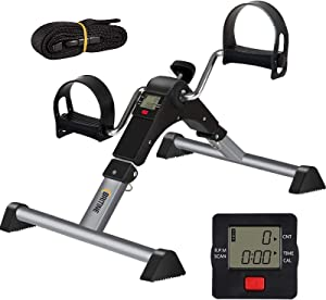 BRITINE Under Desk Pedal Exerciser, Folding Exercise Peddler Under Desk Cycle with Electronic Display for Legs and Arms Workout, Adjustable Fitness Rehab Equipment for Seniors, Elderly