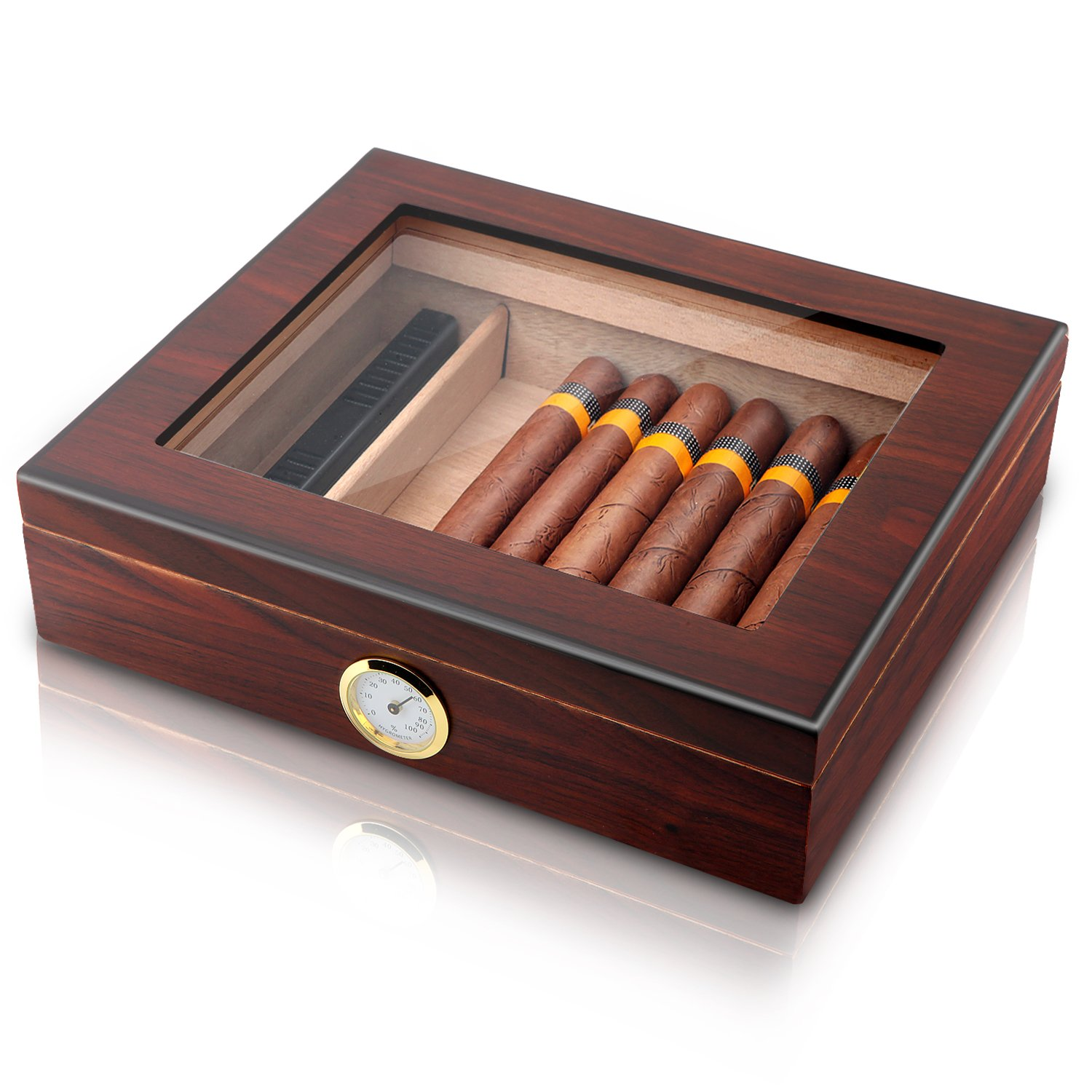 Handmade Cigar Humidor, Cedar Cigar Desktop Box with Humidifier and Hygrometer, Glass Top for 25 Cigars (20-25 Cigars)