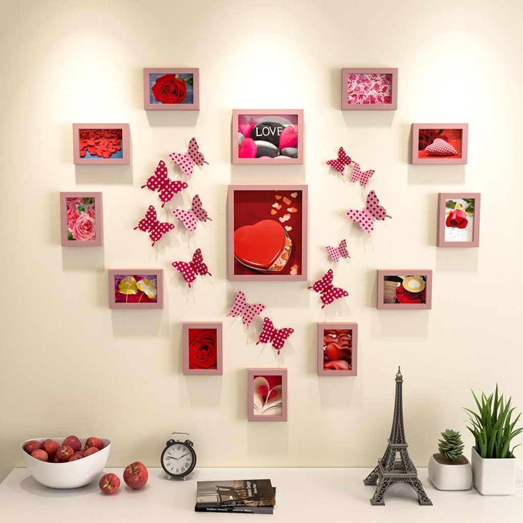 Photo Frame Collage Simple Heart-Shaped Photo Wall Stickers Combination Living Room Bedroom Wedding Room Photo Wall Hanging Wall Photo Wall Collage Fu Man Li Trading Company