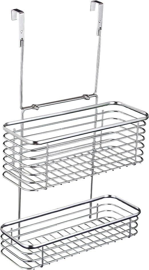 2 Tier Chrome Hanging Shower Caddy Bathroom Storage Organiser Basket Rack Shelf