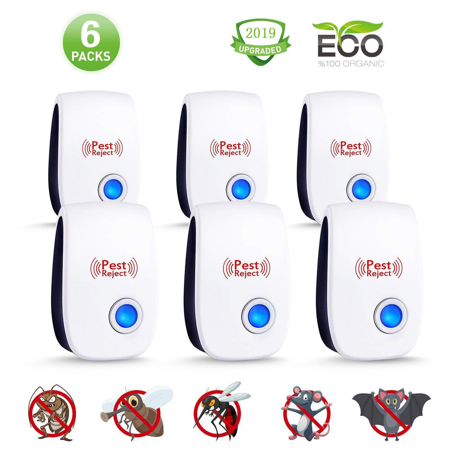 Ultrasonic Pest Repeller (6 Pack) - Plug in Electronic Repellent, Pest Control, No More Pest, Best Pest Controller for Mice, Mosquito, Spider, Cockroach, Flies, Bed Bugs and Other Insects-2019 by LIVING SPACE INNOVATION