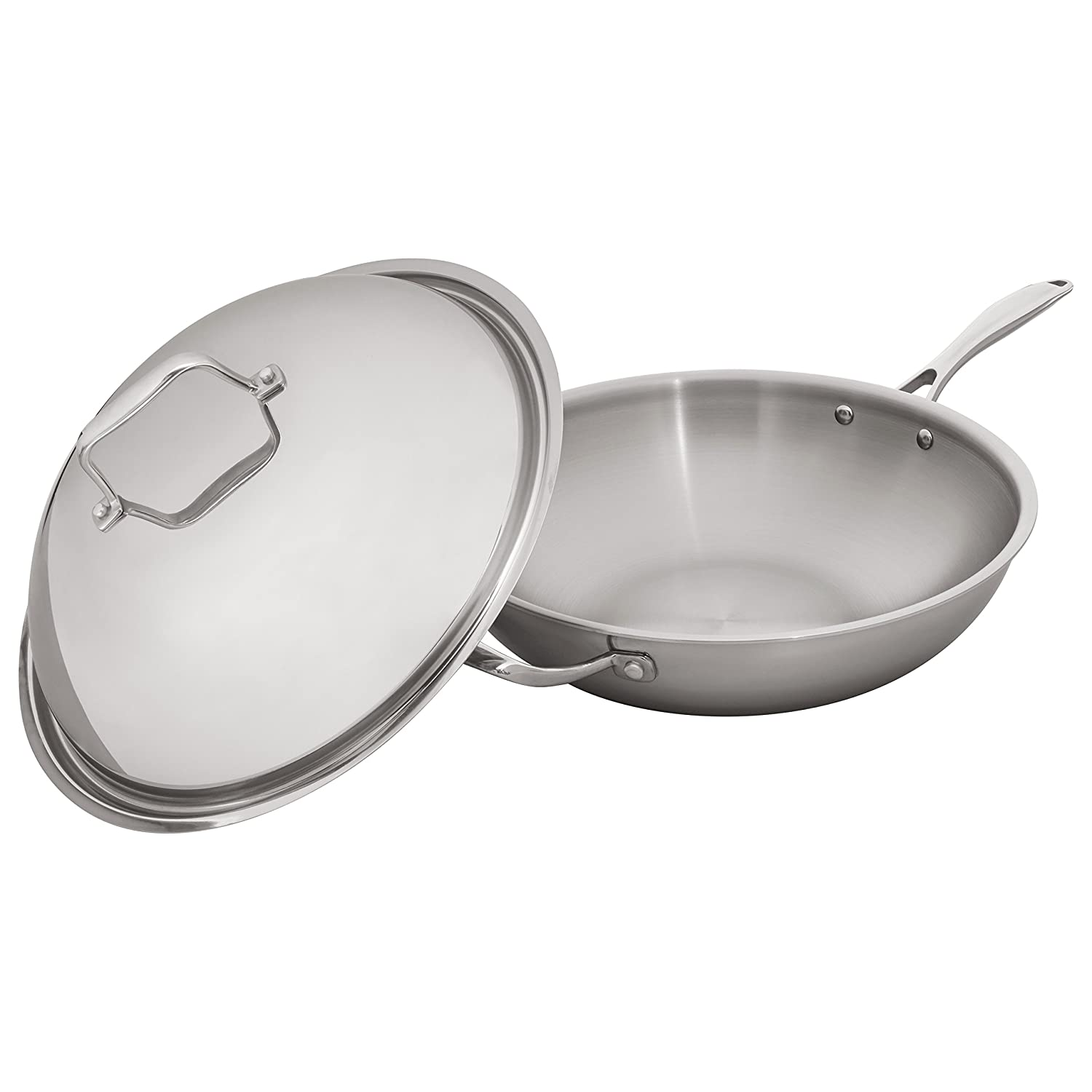 13 Inch Tri-Ply Stainless Steel Stone /& Beam Wok With Dome Lid
