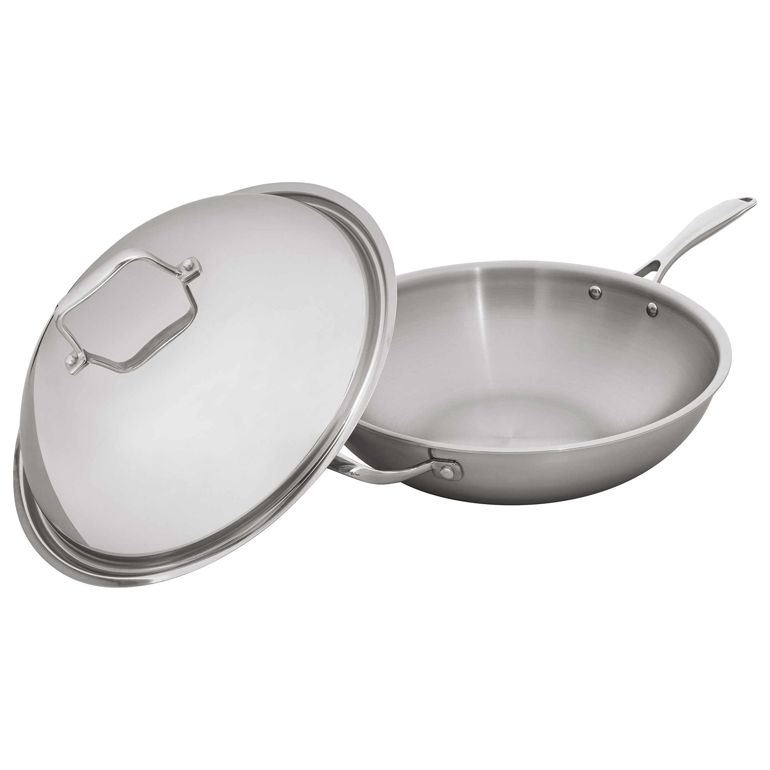 Stone & Beam Wok With Dome Lid, 13 Inch, Tri-Ply Stainless Steel