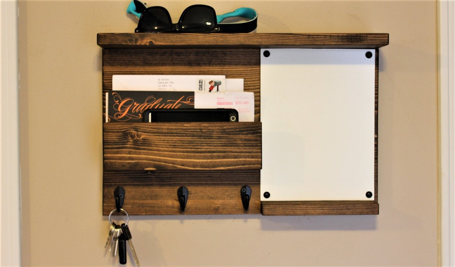Dry Erase with Shelf Mail Organizer, Mail Holder, Rustic Organizer, Key Holder, White Board