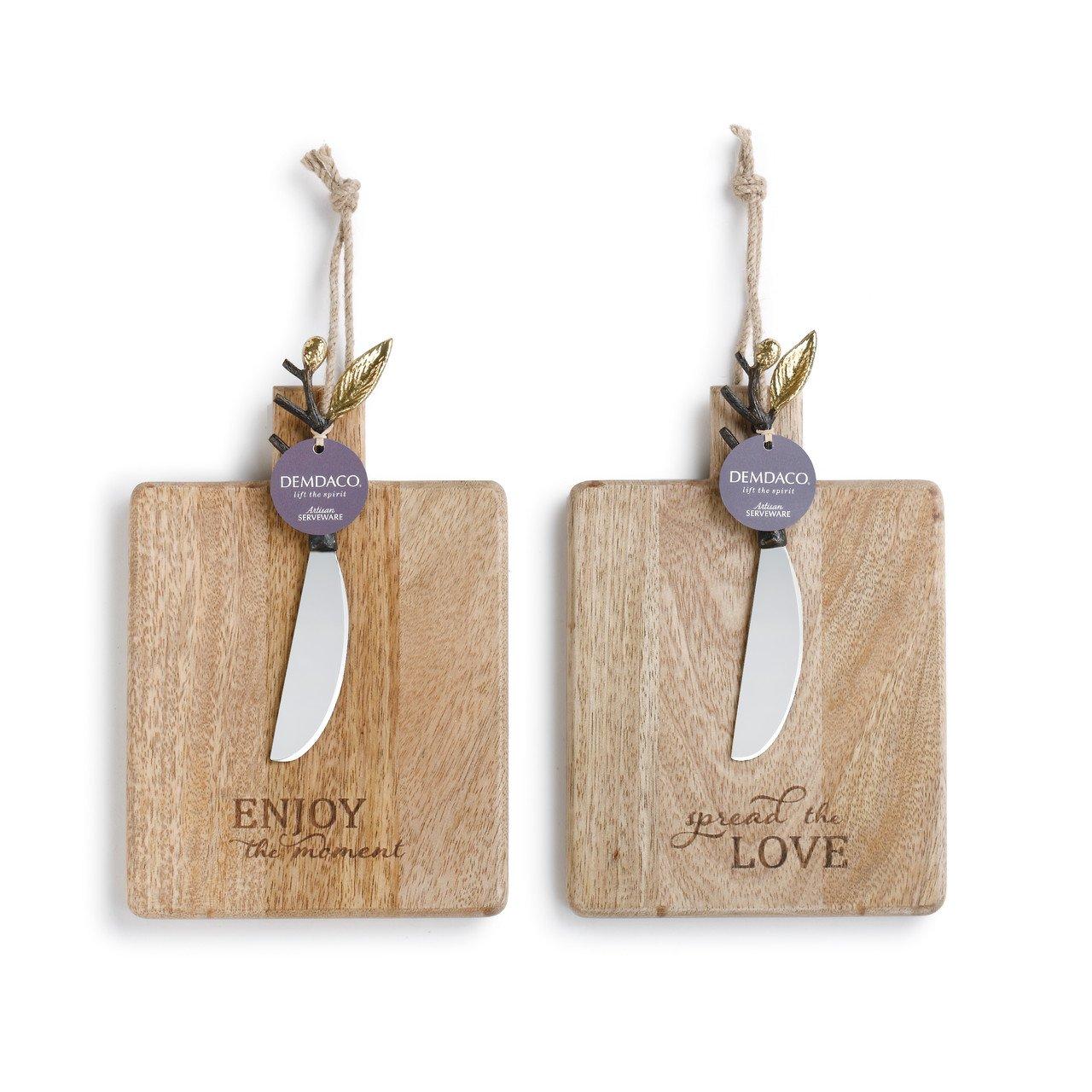 Love Enjoy Brown 9 x 6 Mango Wood Serving Boards and Spreaders Assorted Set of 2 Demdaco 1004200007