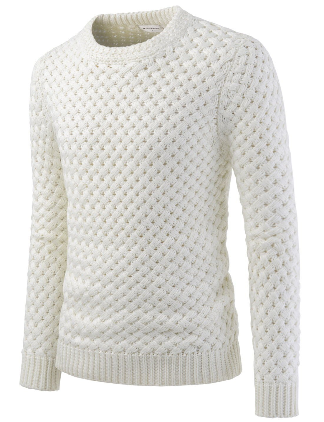 NEARKIN (NKNKKN820) Round Neck Pullover City Casual Wool Blend Knitted Sweaters IVORY US L(Tag size L)