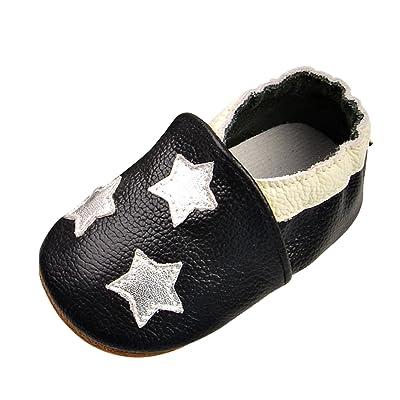 6fe48f02018ed De feuilles Chic-Chic Chaussures Bébé en Cuir Souple - Chaussons Bébé - Chaussures  Premiers Pas Bébé Garçon Fille Nourrisson Étoile 6-12mois