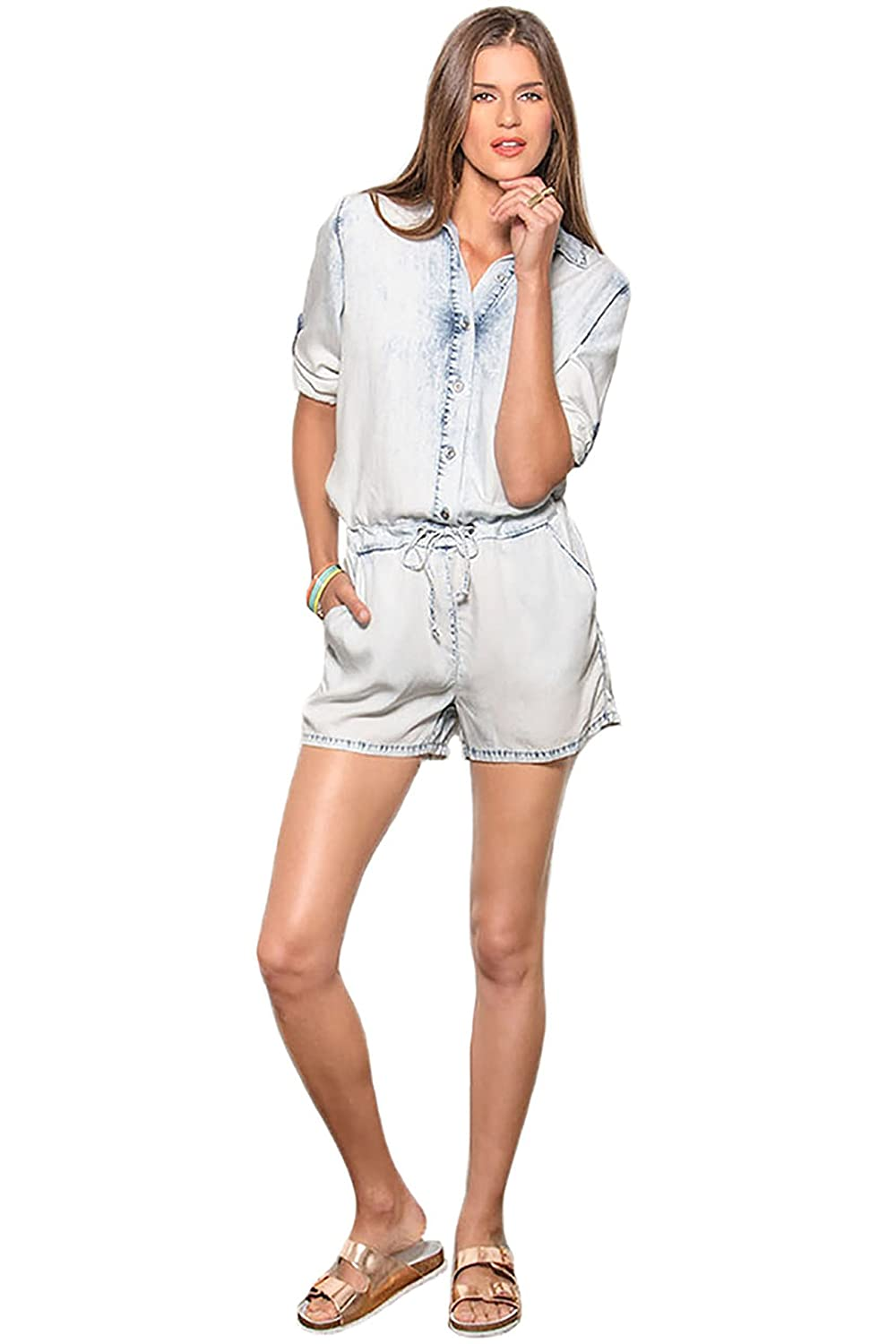 b60f8220277 Amazon.com  Standards   Practices Modern Womens Tencel Extreme Light Wash  Long Sleeve Romper  Clothing