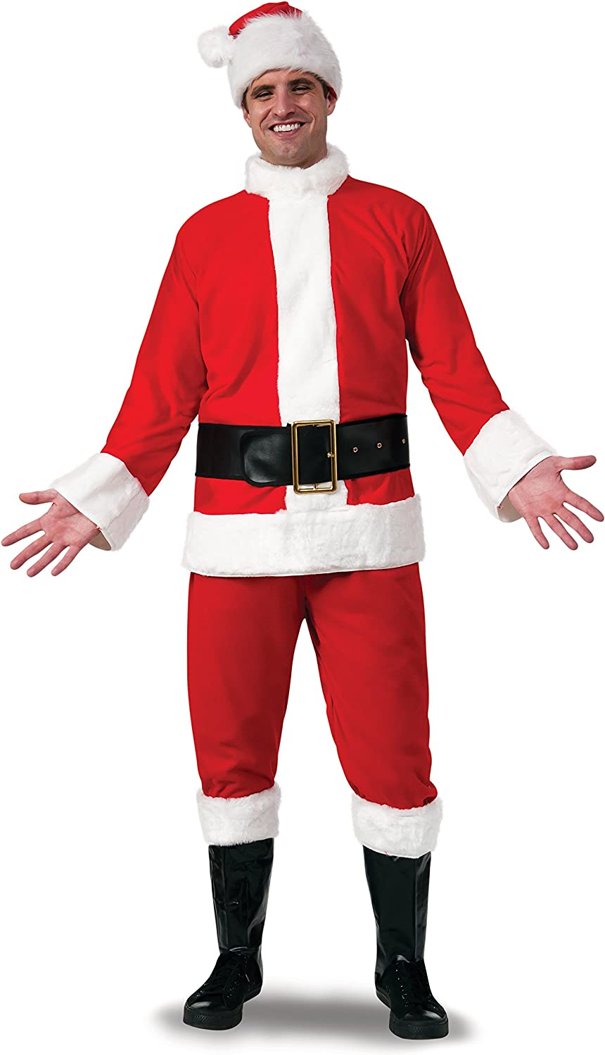 Rubies Bright Red Flannel Santa Suit with Gloves