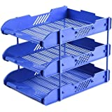 DaKos Paper Tray for Office/3 Tier Document Tray/3 Tier Document Organizer/Office File Tray Plastic (Blue)