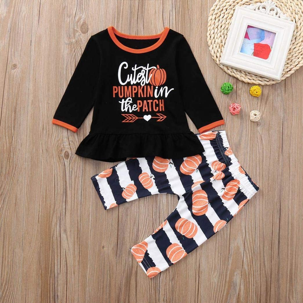 c4f5e5d8 Amazon.com: Hatoys Halloween Outfits Toddler Girls Pumpkin Print Letter Top  T-Shirts Pants Clothes Sets: Clothing