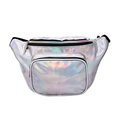 de9f1f416d7c HDE Holographic Waist Pack for Women Shiny Iridescent Fanny Packs Bum Bag  Pack
