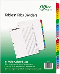 AVE11681 Office Essentials Table N Tabs Dividers, 31 Multicolor Tabs, 1-31, Letter, Set