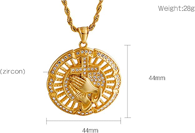 Daesar Stainless Steel Necklace Pendant for Men Cubic Zirconia Necklace with Charm Prayer Hands Gold//Silver