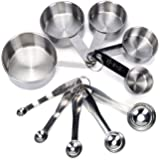 Premium Stainless Steel Measuring Cups and Spoons Set By Koppu - 10 Piece Stackable / Collapsible Measuring Kit - Engraved Measurement Handles - Suitable For Dry & Liquid Ingredients - 100% Non Toxic