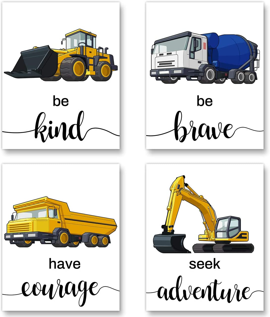Construction Truck Picture Cartoon Construction Transport Vehicles Wall Art - Canvas Funny&Inspirational Words Poster Painting for Nursery or Kids Boy Room Home Decor - Set of 4 Posters (Unframed,8
