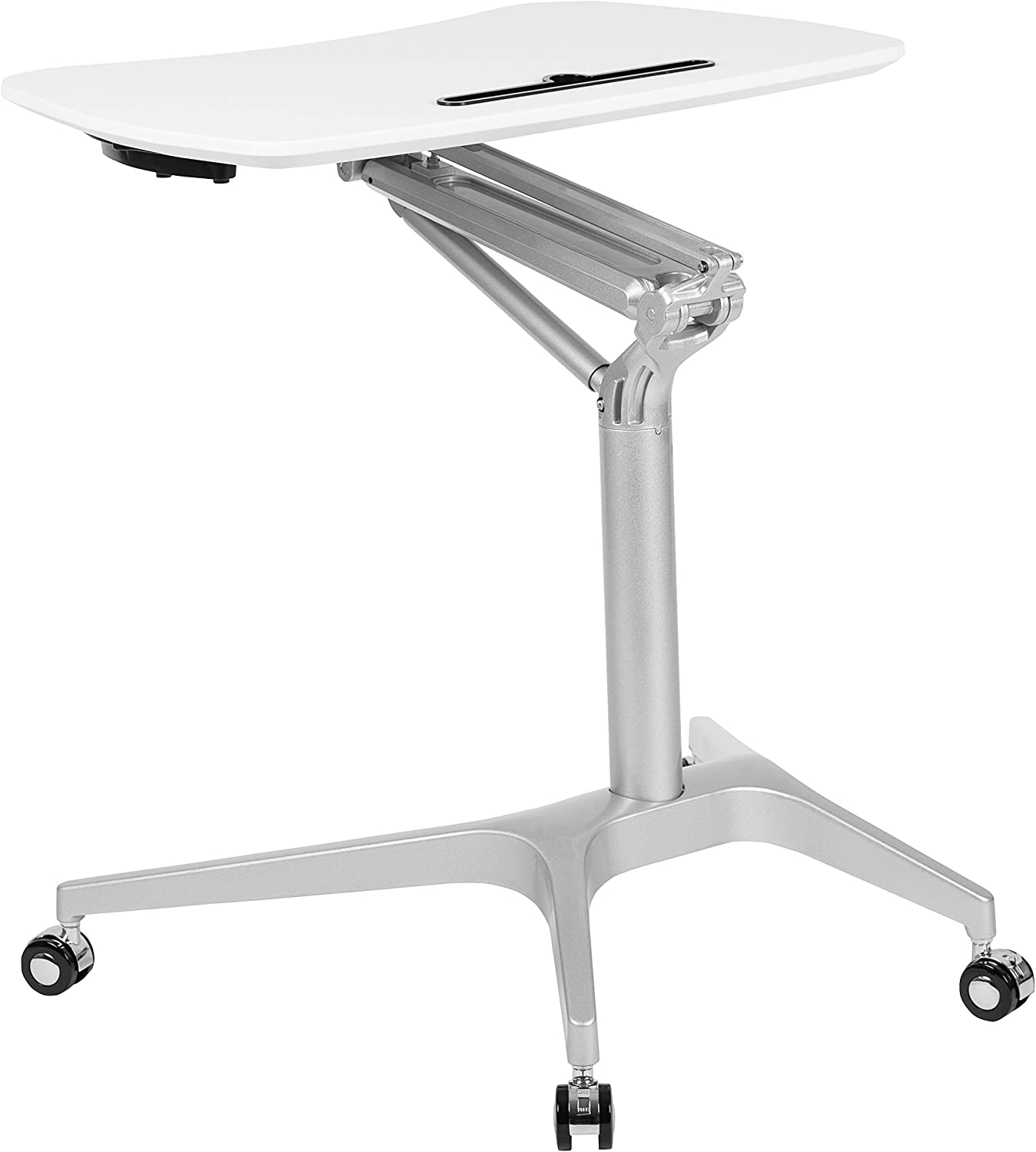 """Flash Furniture Mobile Sit-Down, Stand-Up White Computer Ergonomic Desk with 28.25""""W Top (Adjustable Range 29"""" - 41"""")"""