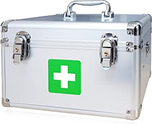 "Morning Plus - First aid kit Lockable Medication Box Organizer Emergency Medicine Storage Box Aluminum Medical Box 12"" x 7.1"" x 7.5"" inches (Silver)"