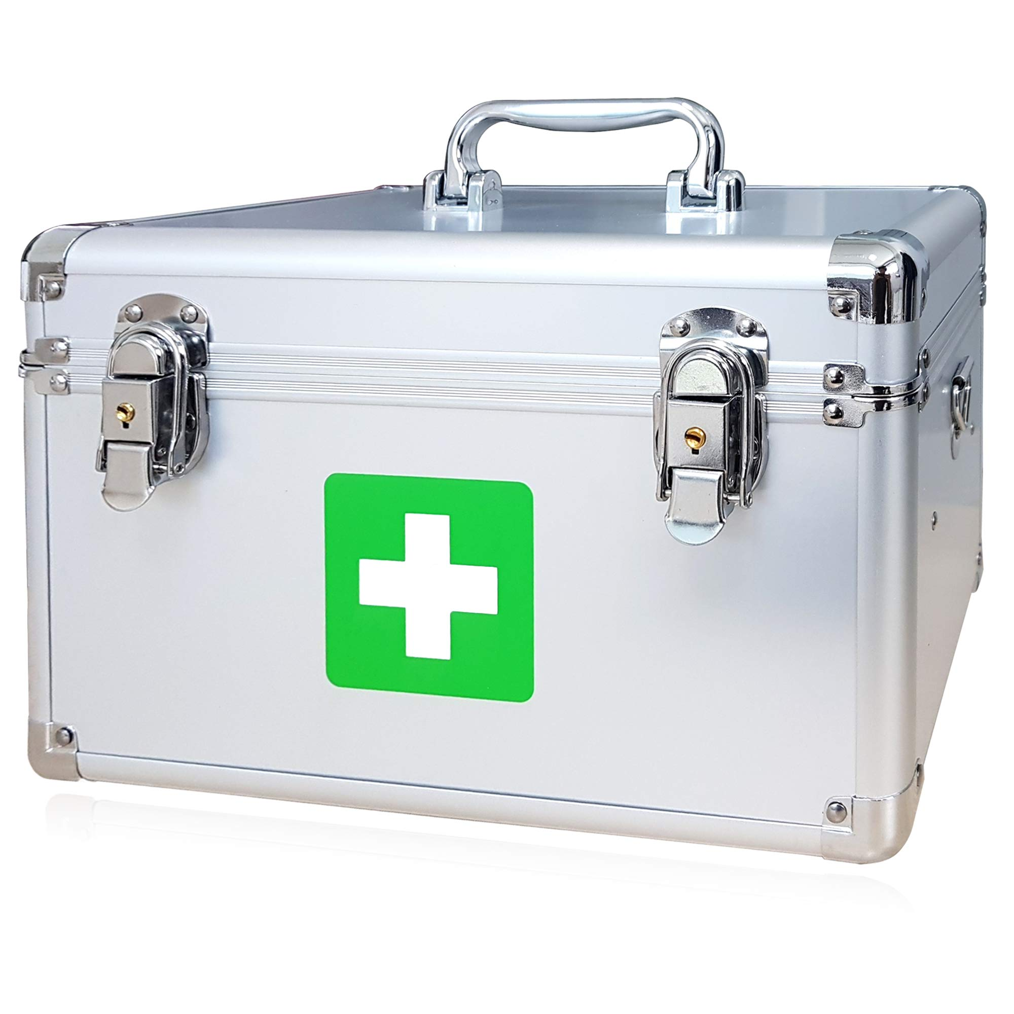 Morning Plus - First aid kit Lockable Medication Box Organizer Emergency Medicine Storage Box Aluminum Medical Box 12'' x 7.1'' x 7.5'' inches (Silver) by morning plus first aid box