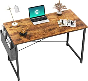 """Cubiker Computer Desk 32"""" Home Office Writing Study Desk, Modern Simple Style Laptop Table with Storage Bag, Brown"""