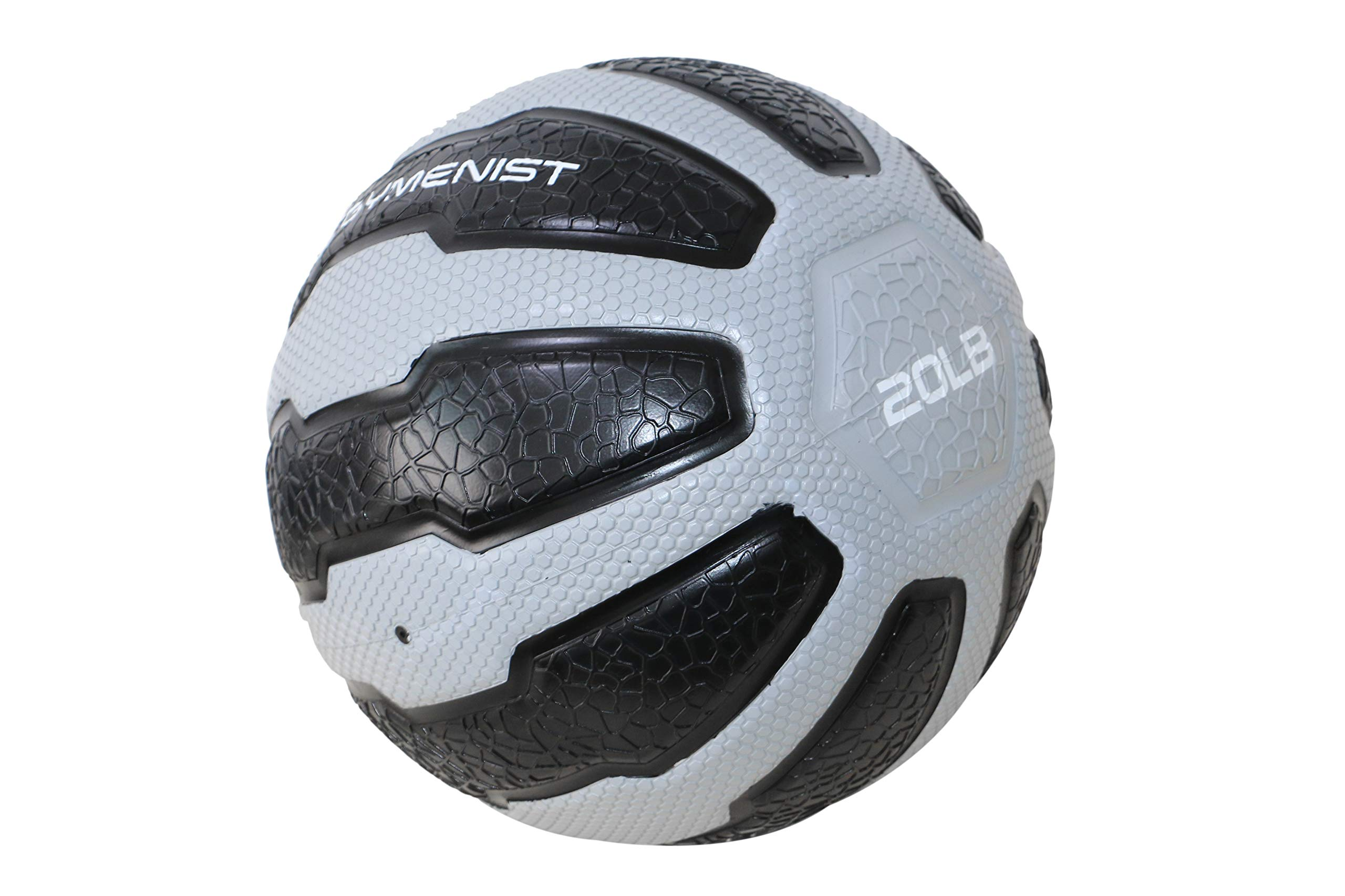 GYMENIST Rubber Medicine Ball with Textured Grip, Available in 9 Sizes, 2-20 LB, Weighted Fitness Balls,Improves Balance and Flexibility - Great for Gym, Workouts, (20 LB (Grey-Black))
