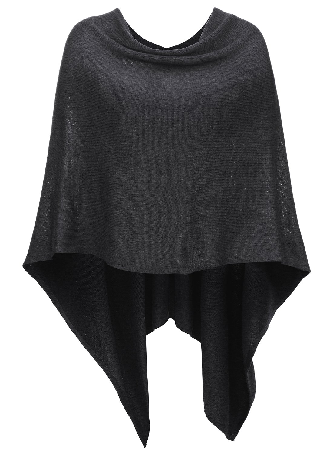 WOMENS KNITTED ASYMMETRICAL LARGE COLLAR 3 BUTTON PLAIN LOT LADIES PONCHO CAPE