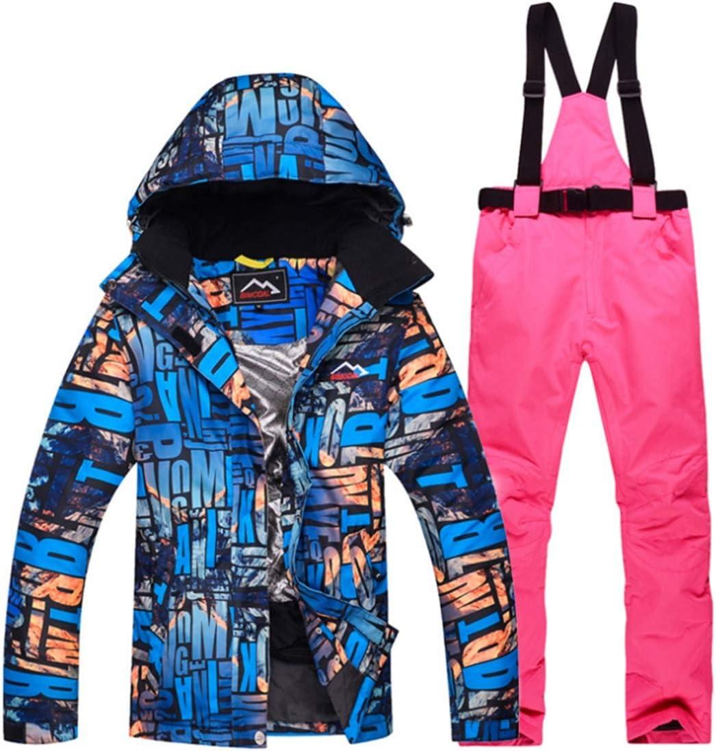 KingsleyW レインスノー用レディースウォータープルーフスキージャケット&パンツセット (色 : 01, サイズ : L)  Large