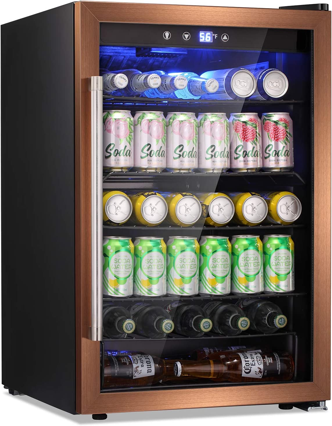 Antarctic Star Beverage Refrigerator Cooler - 145 Can Mini Fridge Glass Door for Soda Beer or Wine Small Drink Dispenser Clear Front for Home, Office or Bar, black,4.5cu.ft. Gold