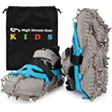 High Stream Gear Ice Cleats for Kids - Snow Grips with 14 Stainless Steel Spikes, Anti Slip Traction Grippers for Boys…