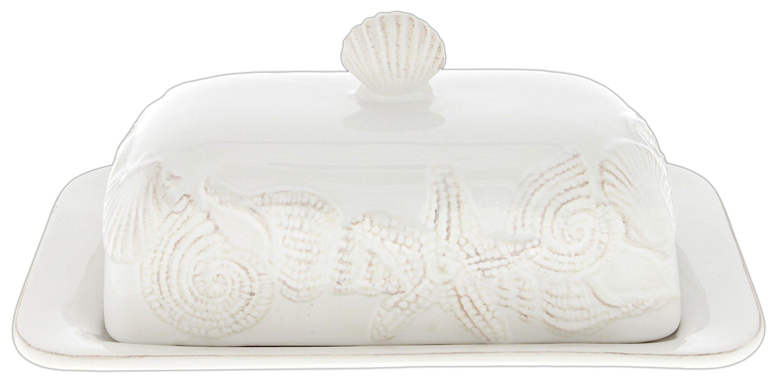 Blue Sky White Ceramic Sea Shells Butter Dish
