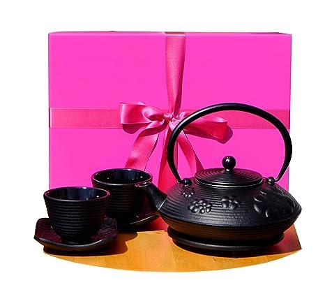 Caja de regalo F – tetera redonda de hierro fundido negro con diseño de flores SQRipple