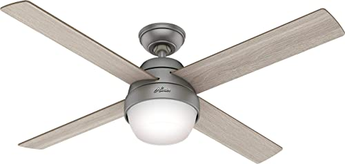 Hunter 50039 Marietta 52 Ceiling Fan with LED Lights and Remote, Matte Silver