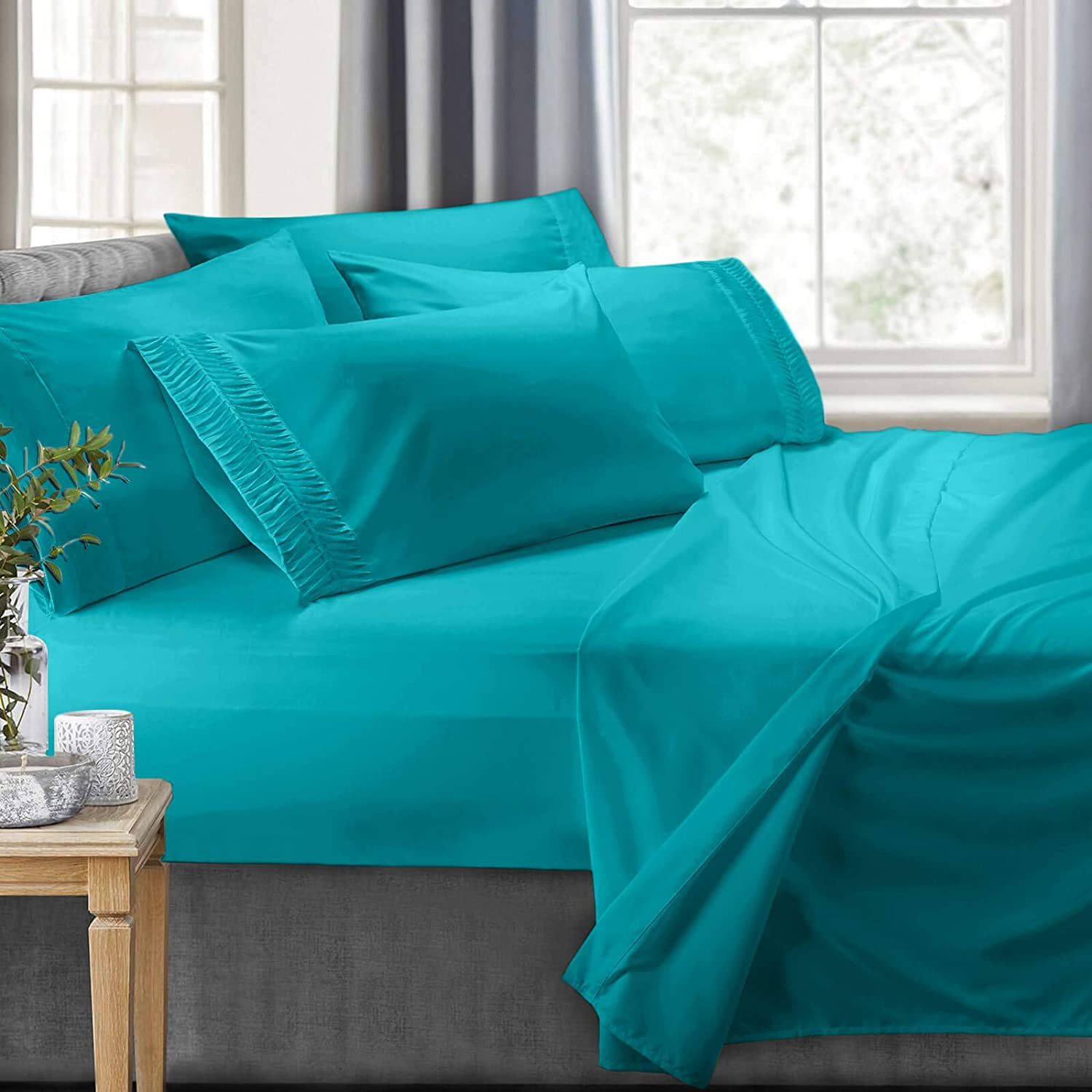 Clara Clark 6-Piece 100% Soft Brushed Microfiber Bedding Set Luxury Pleated Pillowcases, Cool & Breathable, 6 PC Sheets, King, Teal