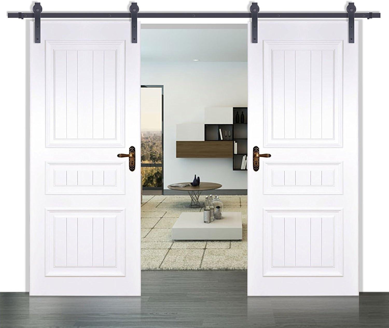 Hahaemall 249,94 cm/248,92 cm negro país madera del granero acero juego Hardware armario de doble puerta corrediza: Amazon.es: Bricolaje y herramientas
