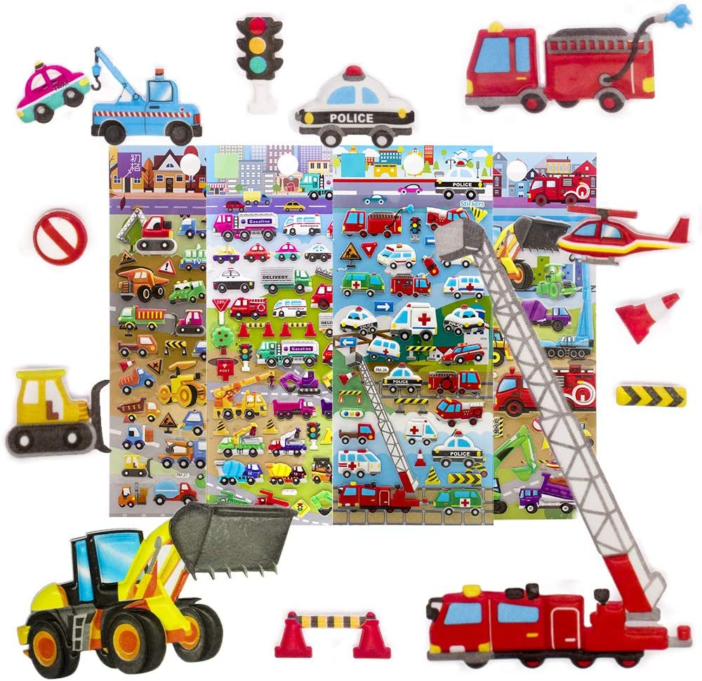 imnext2u 3D Puffy Stickers for Kids Resuable Foam Sticker for Toddler, Boys, Girls Scrapbooking Supplies, Engineering Vehicle,Digger, Forklift, Police Car, Fire Truck - 4 Sheets (Vehicle)