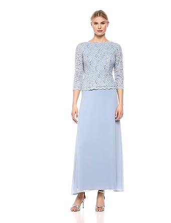 6ddc9da6b3c82 Alex Evenings Women's Long Mock Dress with Full Skirt (Petite and Regular  Sizes),
