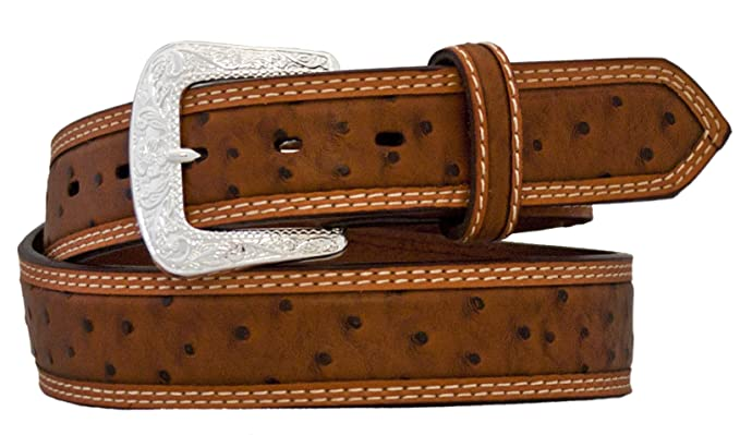 Silver Canyon Mens Belt Brown Leather Embossed Ostrich Print Studs Silver Buckle
